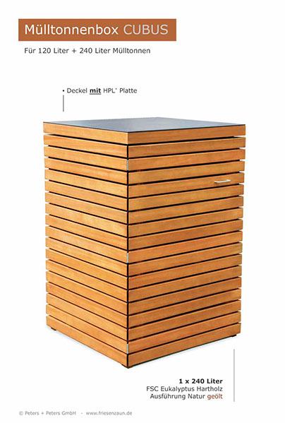 Angebot 2er 3er Mulltonnenbox Hartholz 120 240 Liter Natur