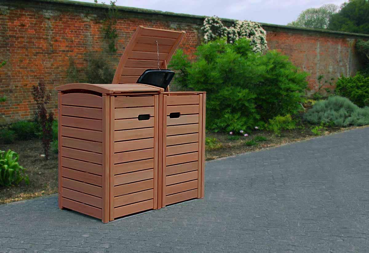 Angebot 2er 3er Mulltonnenbox Hartholz 120 240 Liter